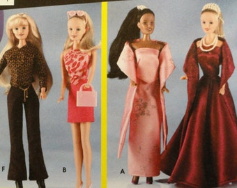 Barbie pattern, doll clothes, dress, evening gown, top skirt pants, shrug, stole, fashion doll clothes, easy sewing pattern, Simplicity 7073