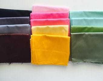 SALE... Assorted Fat Quarter bundle of Solid colors,  13 total