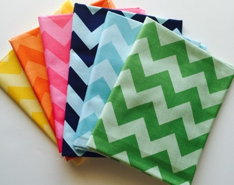SALE.. ONLY ONE Medium Tone on Tone Chevron Spring 1/2 yard bundle, from Riley Blake designs, 6 fabrics total