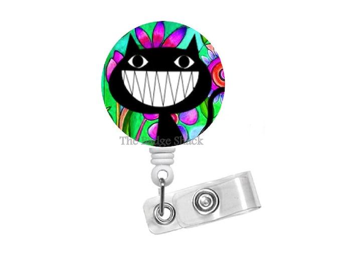 "Funky Cat 1.5"" ID Badge Holder - ID Badge Reel - Veterinarian Badge - Nursing Badge - Teacher Badge Reel - Medical Badge - Vet Badge"