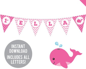 INSTANT DOWNLOAD Pink Whale Party - DIY printable pennant banner - Includes all letters, plus ages 1-18