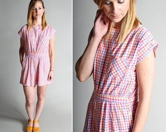 Vintage Pastel Check Summer Romper - Cotton Jumpsuit Woven Vacation Resort White Checked Stripe Cotton Pink Beach 1980s - Size Medium
