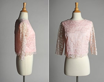 SALE Vintage Blush Pink Lace Crop Swing Top - Cropped Satin Lace Button Up Boxy Long Sleeve Formal - Size Small or Medium S M