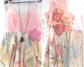 romantic tunic, bohemian cami ruffle slip top, boho clothes, Hollywood starlet collection, shabby cottage chic, Pink, True rebel clothing