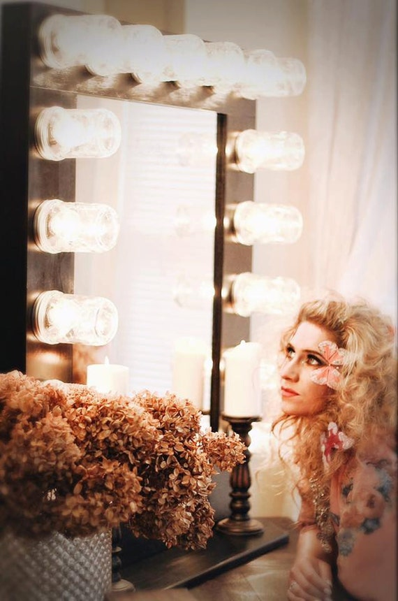 hollywood glam vanity mirror mason jar mirror country makeup On celebrity dressing room mirror