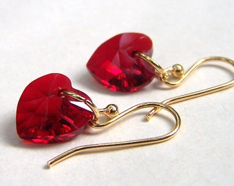 Valentines Day Red Heart Earrings Gold Filled Ear Wires Swarovski Jewelry Red Jewelry Valentines Gift for Her