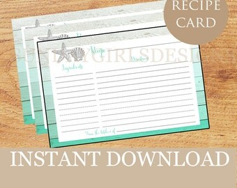 INSTANT DOWNLOAD - Recipe Card - Printable - 4x6 - Beach - Bridal Shower