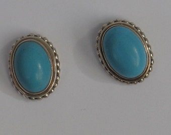 Vintage Sterling  Turquoise Oval Post Earrings 17mm