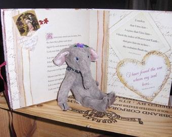 Artist Elephant 6inch, Ichabod, OOAK, jointed, glass eyes