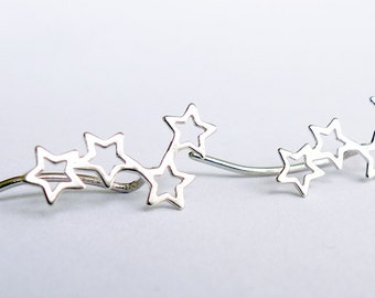 Silver Stars. Ear Climber Stud Earring. Eco Friendly Sterling Silver Stud. Unisex. One silver Earclimber. Limited Edition. Handmade. Shiny.