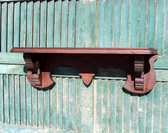 Vintage Wood Wall Shelf / Dark  / Pine  Wood Shelf / Solid Wood Shelf Display Shelf