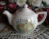 Rabbits, Wildflowers, & Butterflies on a Little English Teapot
