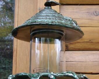 Little Old Shake Shingled Bungalo Hanging Ceramic Bird Feeder