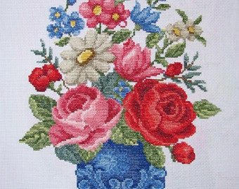New Finished Completed Cross Stitch - Blooming vase - F71