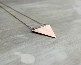 Triangle Pendant Necklace in Rose Gold