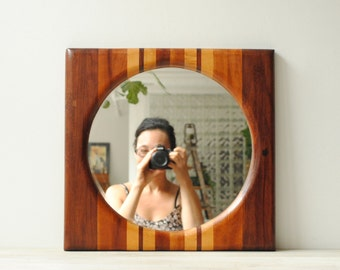 Vintage Mirror with Modern Wood Frame