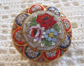 Vintage Brooch Mosaic Floral Design Made in Italy