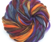 Thick and thin super bulky yarn in hand dyed merino wool - 60 yards and 3.75 ounces, 106 grams