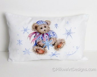 Teddy Bear Artist Painted Christmas Pillow Small White Mini Pillow 8 X 12 Hand Painted Made in Canada Ready to Ship