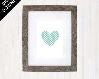 Heart art print, baby nursery, kids room wall art, home decor, digital download
