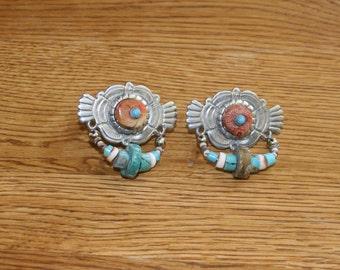 Clara (Kasavina) 1982 Southwestern Earrings w/Coral and Turquoise: Stunning plus Free USA Shipping!