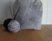 Trundle Bag- Honeycomb Design, Roll Down Top Knitting Project Bag