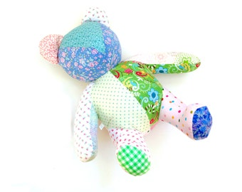 Memory bear, 20 inch teddy bear, large patchwork handmade teddy bear from your clothing, keepsake special custom order remembrance teddy