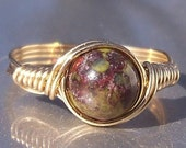 20% OFF Dragons Blood Jasper 14k Gold Filled Wire Wrapped Stone Ring