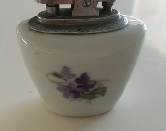 Vintage Floral Porcelain Table Lighter ATC Japan