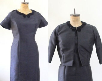 Vintage 1950s Dress Large 50s Dress Black Silk Dress with Jacket Black Cocktail Dress Lg Fitted Couture Womens Silk Dress Size Large LG