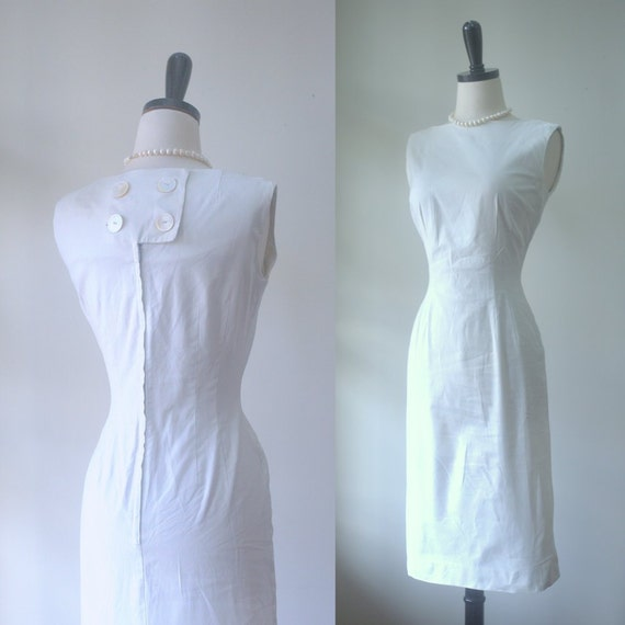 White cotton dress 1950s spring dress 1950s dress simple for Simple cotton wedding dress