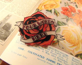 Old School Rose and Scroll Brooch Personalised with your own words
