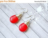 25% OFF Bright Red Turquoise Earrings, Wire Wrapped Teardrop Earrings,  Turquoise Jewelry, Faux Turquoise Drops, Red Briolette Earrings