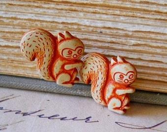 SALE Wooden Squirrel Earrings / Eco Friendly Wood Vegan Jewelry Squirrel Stud Earrings on Stainless Steel for Sensitive Ears, Rustic Farm An