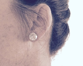 SALE Sparkly Round Druzy Stud Earrings, Sparkly Druzy Earrings, Faux Druzy Posts, Endless Sparkle Metallic Studs
