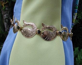 Gold Chain Belt, Fish Chain Belt, Gold Fish Belt, Gold Pisces Belt, Adjustable Belt, Fashion Chain Belt, Gold Medal Fish Belt