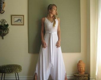 Boho Chic Maxi Wide Leg Jumpsuit Long Loose Summer Dress Look Modern Minimal Beach Wedding V Neck Strappy Romper  (More Colours) XS - XL
