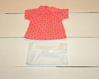 Fluorescent Pink Patterned Dress and Leggings - 14 - 15 inch doll clothes