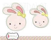 Bunny applique embroidery design. Cute easter applique. Pretty easter bunny embroidery with bow.