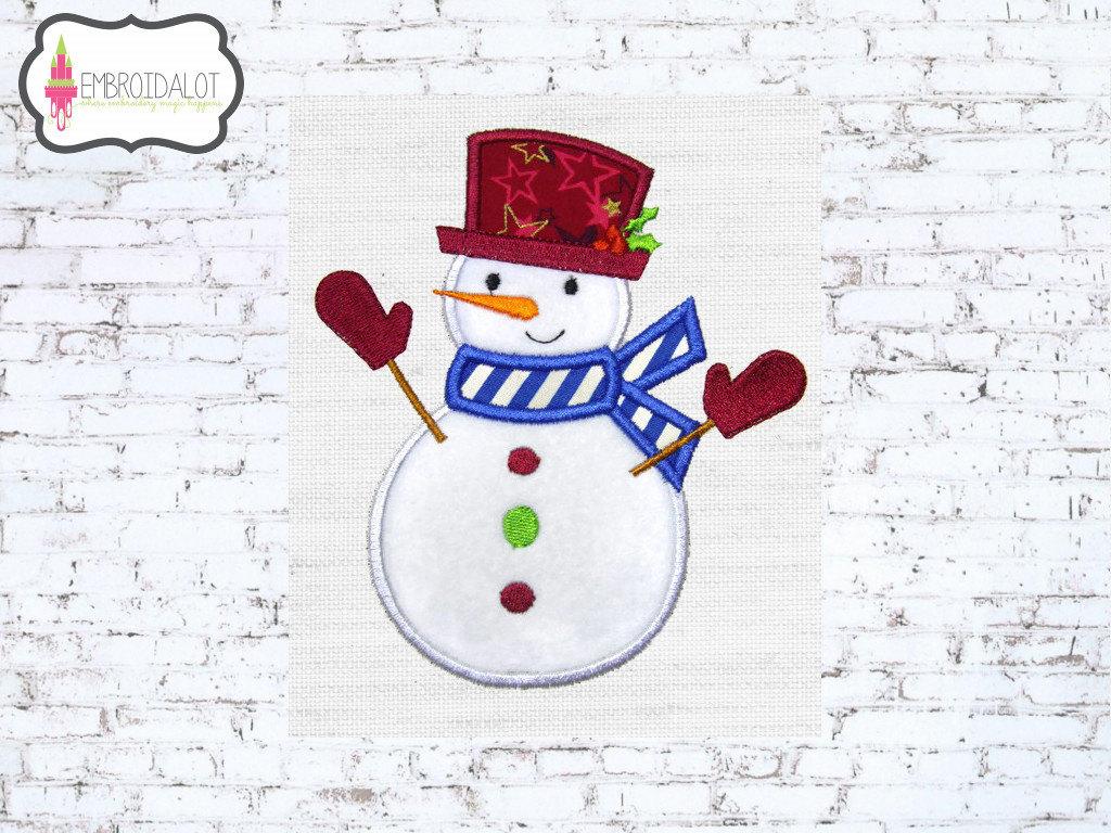Snowman applique embroidery design cute