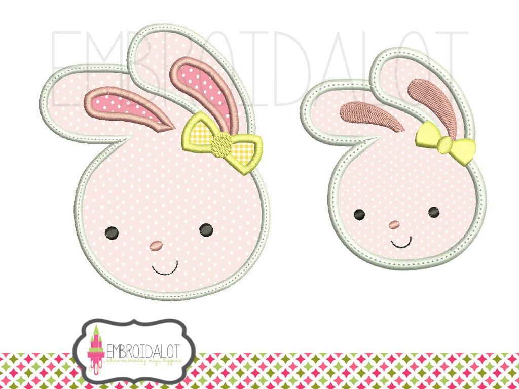 Bunny applique embroidery design cute easter pretty