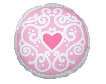 Pastel Jammy Heart Printed Cushion - Candyfloss / Biscuit Cushion - Cookie Pillow