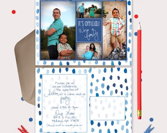 Blue Watercolor Adoption Announcement - Postcard with 4 pictures - change the colors to match your photos!