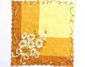 Handkerchief, Brown, Yellow, Gold, Mid-Century, Vintage