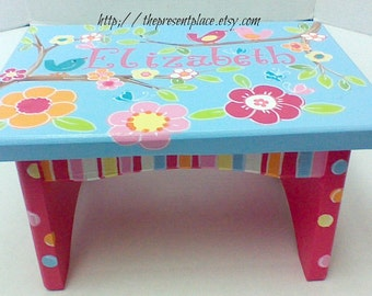 hand painted step stoolgirls step benchbaby kids