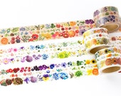 Yano Design Die Cut Japanese Washi Masking Tape / Flower Line Series (perforated) at your choice for scrapbooking, packaging, invitation