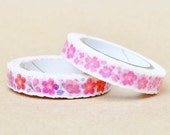 nami nami slim Die-Cut Japanese Washi Masking Tape / 8mm watercolor Cherry Blossom for scrapbooking, packaging, invitation, card, tag making