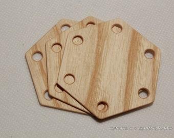 Tablet weaving cards 30 Hexagonal Ash 6-sided.  Ancient medieval viking art weaving loom craft work SCA