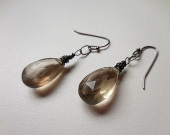 Smokey Quartz Teardrop Earrings - Gunmetal Wire Wrapped Gemstone Earrings