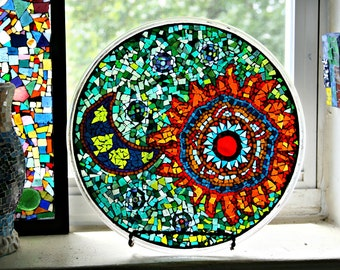 "Mosaic Stained Glass Plate, Mosaic Plate, Stained Glass, For The Home, Bohemian, Hippie, Mosaic Art, Original Art ""Bohemian Sky"" - 12 Inches"